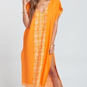 Show Me Your Mumu Shelly Tassel Orange V-Neck Maxi